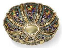 Silver-gilt, Cloisonne' and Plique-a-Jour Enamel Bowl. Christie's auction house price realized $3,750!  Magnificent.