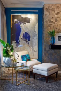 Wall art, interior decor/ Kips Bay showhouse | blue white and black painting | blue wall | white fabric chair | interior design | home decor ideas | decorating