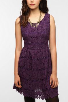 I'm not usually a lace kind of girl, but this tank dress seems so effortless.  |  Thistlepearl Chunky Lace Tank Dress  #UrbanOutfitters