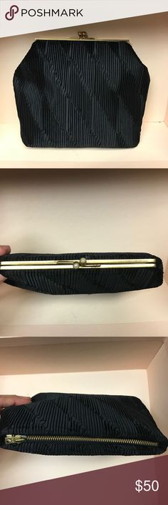 "Duizend Gans Parisian Black Purse Very interesting and unusual purse with a black pleated fabric exterior and gold silk interior. What makes this purse different is that there is a clasp at one end and a zipper at the other and they each lead to a different interior, i.e. the interior is sectioned. The clasp has faux pearls securely set into it - a nice touch. Label reads Duizend Gans 8 Av Bertie-Albrecht Paris. Excellent condition. Measures 7 1/2"" x 6 1/2"". Bags Clutches & Wristlets"