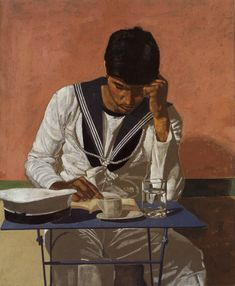 Yiannis Tsarouhis - Marin qui lit, 1980 People Reading, Greek Paintings, Queer Art, Reading Art, Art Database, Gay Art, Illustrations, Painting & Drawing, Oil On Canvas
