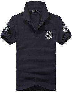 Men Cotton Dark Blue Embroidery Badge Short Sleeves S/M/L/XL/XXL/XXXL@dat215db
