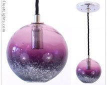 Purple Globe Pendant Light inspired by Fishing Floats- Royal Purple Globe