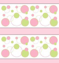 Pink Green Polka Dot Wallpaper Border Decal Girl Nursery Sticker #decampstudios