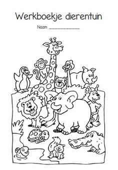 werkbladen dierentuin kleuters Activity Sheets For Kids, Activities For Kids, Coloring Books, Coloring Pages, Tropical Animals, Zentangle, Animal Science, Camping Theme, Pirate Theme