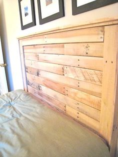 Reclaimed wood headboard, this would be a great weekend project
