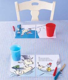 A great way to repurpose old, children's books that are falling apart.  Just laminate the pages of your favorite storybooks and they become placemats for your kids!