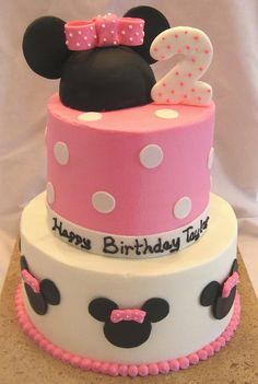 Minnie Mouse Birthday ~ I would change it to Mickey and red, yellow, white, and black @ Kristen Minni Mouse Cake, Minnie Cake, Minnie Mouse Theme, Minnie Birthday, Birthday Fun, Birthday Cake, Birthday Ideas, Bolo Mickey, Mickey Party