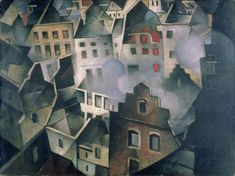 Landscape painting of very close together bombed houses and fires by Christopher Nevinson