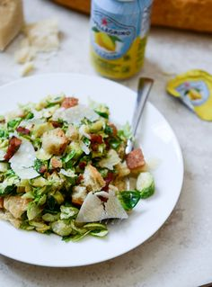 Warm Brussels Caesar with Bacon Ciabatta Croutons