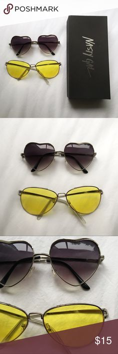 Heart shaped sunglasses, yellow aviator shades Sunglasses bundle. Heart shaped gradient purple purchased from Nasty Gal and yellow lens aviators. Both with scratches on lenses (more so on the yellow)  attempted to picture in the last photo.  ❗️note❗️The yellow aviators previously had a bar extending between the brow but it was removed for a more simplistic look. Nasty Gal Accessories Sunglasses