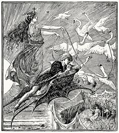 The Fairy of the Desert […] resolved at once to transport the Prince to a pleasanter place.    Henry Justice Ford, from Prince Darling and other stories, by Andrew Lang, London, New York, Toronto, 1930.