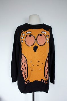 Vintage 1990s OWL SWEATER by TrueValueVintage on Etsy, $45.00