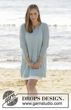 - Knitted jumper with ¾ sleeves in DROPS Brushed Alpaca Silk. Free pattern by DROPS Design Drops Design, Summer Knitting, Knitting Yarn, Knitting Needles, Knitting Patterns Free, Free Knitting, Free Pattern, Knit Patterns, Free Crochet