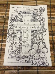 Hymn Art, Scripture Art, Bible Art, Book Art, Bible Doodling, Sheet Music Art, Illustrated Faith, Book Crafts, Paper Art
