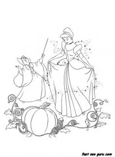 Printable disney characters Cinderella and Her Fairy Godmother coloring pages - Printable Coloring Pages For Kids