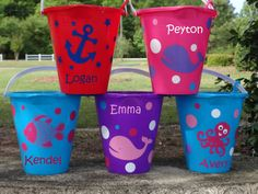 Personalized Beach Bucket Sand Pail Toddler by kozykidzboutique, $10.00