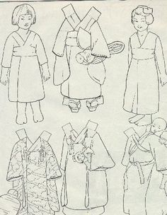 Paper Doll Template | 258)PAPER DOLLS: - Circa 1913 Japanese Paper Doll Patterns. BW with ...