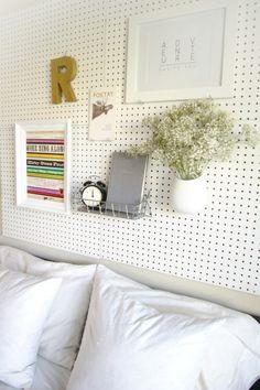 Pretty Pegboard Storage! • Ideas & Tutorials! Including this DIY pegboard headboard project from 'sugar & cloth'.