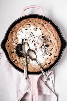 Salty Dark and Milk Chocolate Skillet Cookie   The Modern Proper