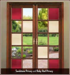 Ruby Red Colored Window Film - Privacy or Decorative See Through -Living Room! Window Cling Film, Window Films, Window Art, Farmhouse Interior, Farmhouse Style, Window Coverings, Window Treatments, Window Panes, Glass Storm Doors