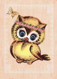 'Vintage Owl, Girly with Roses and Lace' by Michelle Pocock