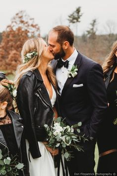 Chris and Sue's Wedding in Saratoga Springs, New York Cool bride vibes + bridal leather jacket + greenery hair piece + wedding bouquet {Dori Fitzpatrick Photography}<br> Wedding Looks, Wedding Pictures, Wedding Bride, Fall Wedding, Dream Wedding, Wedding Bouquet, Edgy Wedding, Winter Wedding Hair, Wedding Jacket