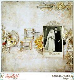 Az ifjú pár – vintage stílusgyakorlat Scrapbook Pages, Scrapbooking, Medium Art, Mixed Media Art, Vintage, Layout, Wedding, Painting, Ideas
