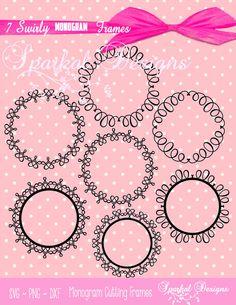 Swirly Monogram SVG Frames Wreath Clipart by SparkalDigitalDesign #MonogramsVGFrames #SVGCircleMonograms