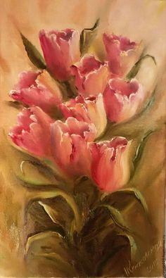 """Подарок на любой случай #painting #flowers #тюльпаны #gardening #oilcanvas #НатаКрасовская Купить Картина маслом """"От всей души"""" - комбинированный, тюльпаны, к 8 марта, к дню святого Валентина"""