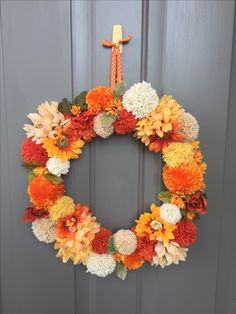 My fall pom pom wreath. My fall pom pom wreath. Pom Pom Wreath, Diy Wreath, Wreaths Crafts, Christmas Wreaths, Christmas Crafts, Christmas Decorations, Christmas Outfits, Autumn Decorating, Fall Decor