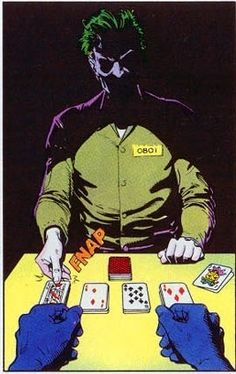 Playing cards with the Joker <<<^^^ too bad this isn't the Joker.this is someone who the Joker forced to pretend to be him while he escaped in the Killing Joke comic. Comic Books Art, Comic Art, Univers Dc, Joker Art, Im Batman, Batman Universe, Joker And Harley Quinn, Detective Comics, The Villain