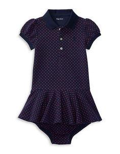 Ralph Lauren Childrenswear Baby Girls Cotton Pique Dress  Blue 6 Month
