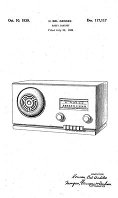 Norman Bel Geddes - Design Patent for Radio Cabinet (1939)