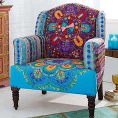 The bohemian / indian inspired print for this Gingar chair is so unique! - Trend Home Dekor Funky Furniture, Painted Furniture, Bohemian Furniture, Upholstered Furniture, Furniture Chairs, Furniture Stores, Furniture Ideas, Deco Boheme, Take A Seat
