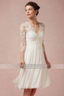 A-Linie Knielanges Extravaganter Brautkleid mit V-Ausschnitt aus Spitze