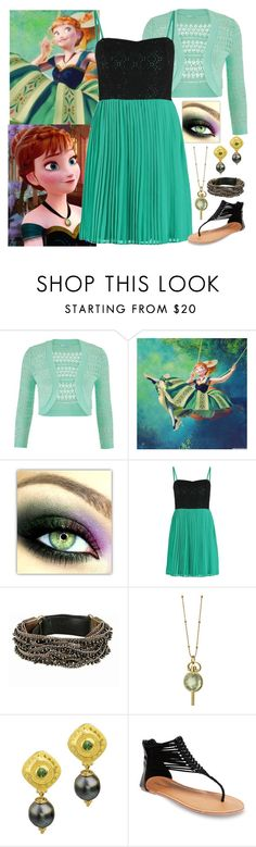 """""""Anna - Sundress - Disney Bound"""" by rainbowbaconcupcake ❤ liked on Polyvore featuring maurices, Disney, even&odd, Goti, Monica Rich Kosann, Wet Seal, women's clothing, women's fashion, women and female"""