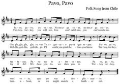 The Sweetest Melody: Pavo, Pavo - Chilean folk song complete with dance for younger children. Great for tim-ka! Preschool Music, Music Activities, Teaching Music, Leadership Activities, Group Activities, Choir Songs, Kids Songs, Music Songs, Elementary Music Lessons