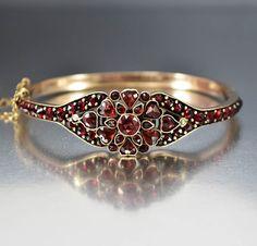Victorian Heart Bohemian Garnet Bangle Bracelet