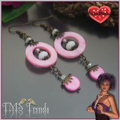 Ohrh�nger aus unserem Atlier.�        Ohrh�nger mit rosafarbigen Perlen aus Muschelperlmutt, Kristallglasperlen und b�hmischen Glasperlen....