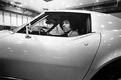 Jimi Hendrix test driving a Corvette