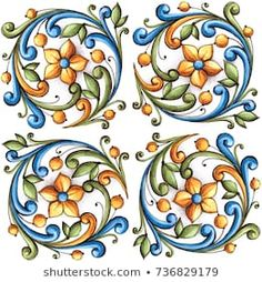 Majolica, vintage ornaments on the antique tiles, watercolor Stencil Painting, Painting Patterns, Fabric Painting, Engraving Art, Engraving Illustration, Engraving Ideas, Ceramic Tile Art, Ceramic Painting, Paisley Flower Tattoos