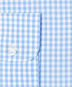 Brooks Brothers Men's Extra-Slim Fit Non-Iron Blue Gingham Dress Shirt - Blue 15.5 35