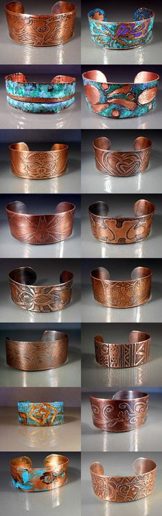 Handcrafted Copper Cuff Bracelets by studiovdesigns on Etsy