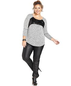 ING Plus Size Sequined Top