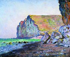 Claude Monet- Cliffs at Les Petites-Dalles, (Falaises aux Petites-Dalles), 1884...Oil on canvas...23 3/8 x 28 7/8 inches ...The Kreeger Museum, Washington D.C