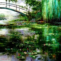 'Giverny Dawn II - Diptych' by Gleb Goloubetski, Oil on Canvas, Fantasy Art Landscapes, Fantasy Paintings, Fantasy Landscape, Landscape Art, Landscape Paintings, Monet, Landscape Wallpaper, Watercolor Landscape, Psychedelic Drawings