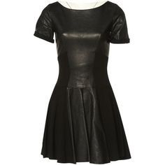 Pre-owned Jay Ahr Mid-Length Dress ($414) ❤ liked on Polyvore featuring dresses, black, women clothing dresses, skater skirt, flared skirt, leather circle skirt, little black dresses and mid length cocktail dresses