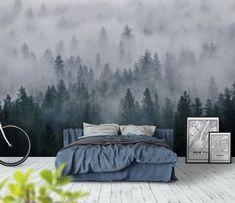Skog Dimma Tallträd Fullpackad Träd Vildmark Eterisk Tallskogsland Dag fototapet/tapet från Happywall