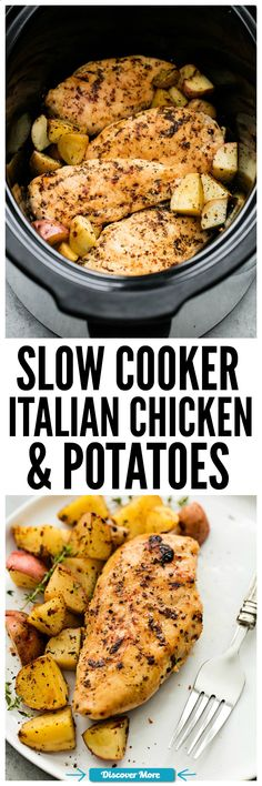Slow Cooker Italian Chicken and Potatoes is such an easy meal to make but packed with such amazing flavor! The entire family will love this hearty meal in one. #slowcooker #slowcook #slowcookerrecipes #slowcookerchicken